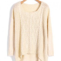 Beige High Low Batwing Sweater with Spot Detail