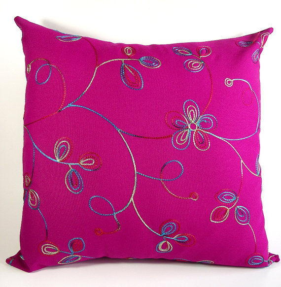 Fuschia Throw Pillows : Fuschia Embroidered Pillow Cover - 18 x from LiliaVaniniGlamour