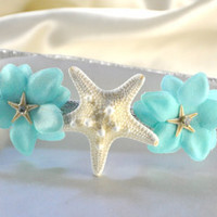 Sparkly Starfish Headband White Starfish aqua by ShepherdoftheSea