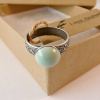 Cool Mint Ring, Adjustable Ring, Antique Floral Ring, Colorful Ring