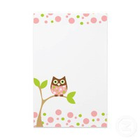 Pink Baby Owl Stationery Paper from Zazzle.com