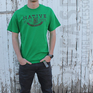 Native Rolling Papers Weasel Apparel Graphic Tee Premium Quality Native Green Paper Brown
