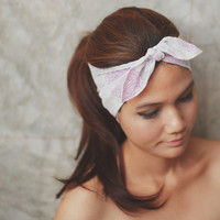 Pleat Plzz, Pink and White, Floral demask print, Hippie Headband, Hippie Head wraps, Hair bow, Scarf