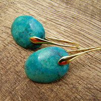 Chrysocolla Blue Green Turquoise Earrings.  Gold.
