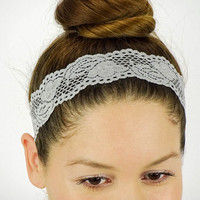 Lace Headband Grey Stretch Headband Women Headband Grey headband Bohemian headband Bridal Headband lace stretchy headband cheerleader band
