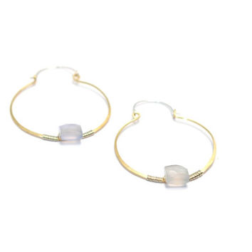 Hoop Earrings with Genuine Blue Quartz Gemstones-Two Toned Sterling Silver and Gold Filled-Hand Hammered