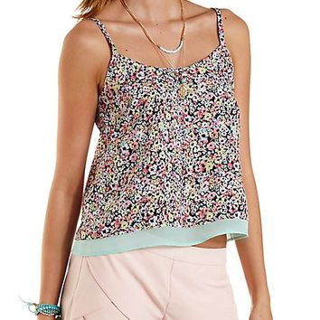 Cross-Back Floral Print Tank Top by Charlotte Russe - Navy Combo
