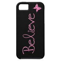 Pink Ribbon Believe Butterfly iphone 5 Case from Zazzle.com