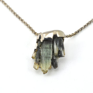 Silver pendant and chain with natural tourmaline cluster