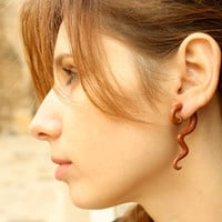 Fake Gauge Earrings Spiral Curls Wood Earrings Waves Organic Natural Tribal - FG