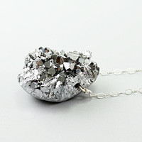 Silver necklace: amethyst druzy necklace, titanium necklace, drusy pendant, handmade jewelry sparkly drusy jewelry by NatureLook gray grey