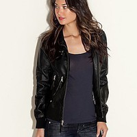 Eileen Faux-Leather Jacket | GUESS.com