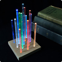 Metropolis - Glowing Night Light - Rainbow Fading Colors - Solid Red Oak