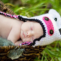 Newborn Cow Hat White Beanie with Ear Flaps