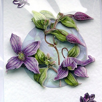 """Hand Crafted 3D Decoupage Card, Blank for any Occasion (1807) """"Purple Flowers"""""""