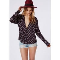 Missguided - Wrap Over Paisley Print Blouse Navy