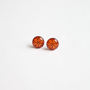 10 mm small studs, orange stud earrings, orange studs, tiny studs, tiny stud earrings,  small earrings, orange earrings
