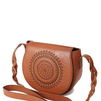 Embossed Faux Leather Crossbody