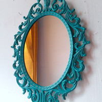 Fairy Princess Mirror - Ornate Vintage Frame in Bright Turquoise - 13 by 10 inches