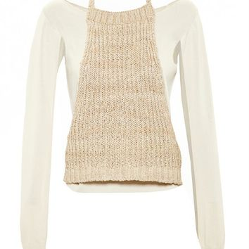 Silk Top with Knit Overlay - LOEWE