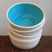 Turquoise Blue Soup / Cereal Bowls Set of 4 by KarinLorenc
