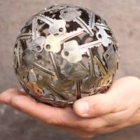 Small key ball, Key sphere, Metal sculpture ornament
