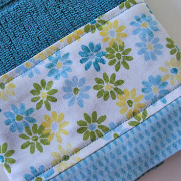 Decorative Kitchen Towel - Teal Floral Towel - Fabric Trimmed Hand Towel - Tea Towel - Yellow and Blue Kitchen Towel - Bath Hand Towel