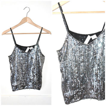 silver METALLIC sequin tank top vintage 70s 80s MINIMALIST slinky gun grey SILK sparkly spaghetti strap top medium