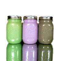 Home Decor - Painted Ball Mason Jars - Vase - Green, Purple, Grey