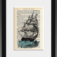 The Captain Goes Down With The Ship Vintage Print by StayGoldMedia