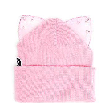 Beanie Hat with Lace Cat Ears - SILVER SPOON ATTIRE