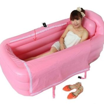 Pixnor® Lengthen Thicken Adult SPA Inflatable Tub Keep Warm Folding Bathtub with Air Pump (Pink)