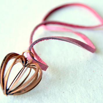 Copper Caged Heart Necklace - vintage copper tone heart  - dusty rose leather cord - heart jewelry - heart necklace