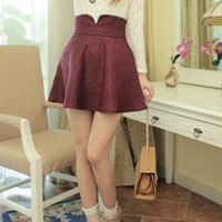 Pristine Impressions Notch Herringbone Skirt in Burgundy  | Sincerely Sweet Boutique