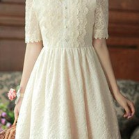 Royal Engagement Lace Embroidered Bib Dress in Cream | Sincerely Sweet Boutique