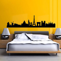 France Skyline Arc de Triomphe eiffel tower 40 inches wide Vinyl Wall Decal Sticker B0902