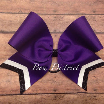 """3"""" Purple Team Cheer Bow with White Glitter and Black Glitter Tail Stripes"""