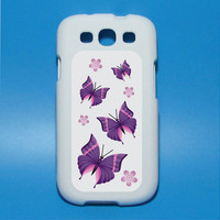 Purple Butterflies in flight with flowers Iphone decal Mac decal Galaxy 3 decal ipad decal iphone sticker