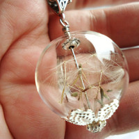 Elegant Dandelion Seed Glass Orb Necklace, Lucky You