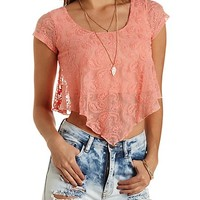 Cap Sleeve Lace Swing Crop Top by Charlotte Russe