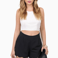Marci Scalloped Shorts $33