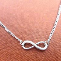Adjustable silver vintage infinity necklace chain necklace women necklace girls necklace with silver chain and vintage infinity XL-2662