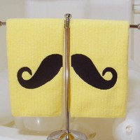 $20.00 Mondo Mustache 2 Towel Set YELLOW by CyanideStitches on Etsy