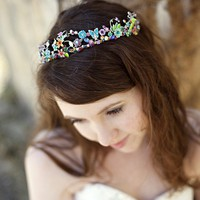 $215.00 Multicolored flower tiara butterflies Swarovski by acpetrille