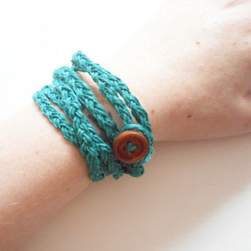 Braided Green Hemp Wrap Bracelet, ready to ship.