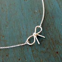 Sterling Silver Bow Necklace Simple Minimalist Jewelry bridesmaid gifts Girlfriend gift