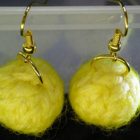Knitted Earrings in Lemonade