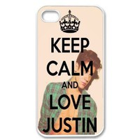 Amazon.com: Apple iPhone 4 4G 4S Keep Calm and Love Justin Bieber Retro Vintage WHITE Sides Case Skin Cover Protector Accessory Vintage Retro Unique Comes in Case Cartel Packaging: Cell Phones & Accessories