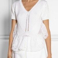 No.21 shortsleeve knit top white lace detail white