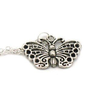 Butterfly Necklace, Charm Necklace, Butterfly Charm Jewelry, Butterfly Pendant, Silver Butterfly Jewelry, Jewelry Gift, Gift Under 20